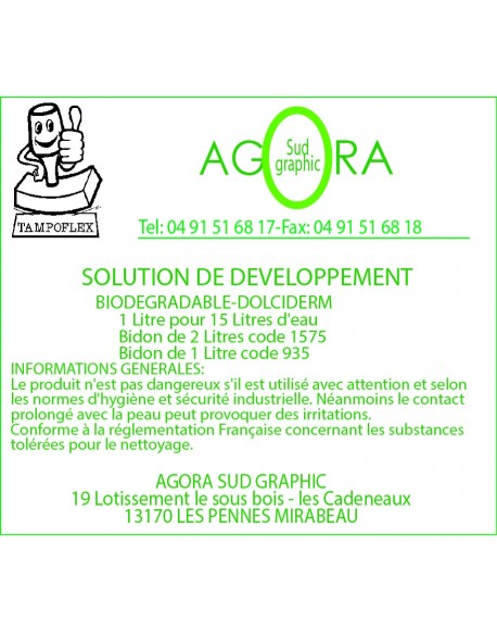 Solution de développement 2 litres pour la fabrication de tampon encreur marque tampoflex