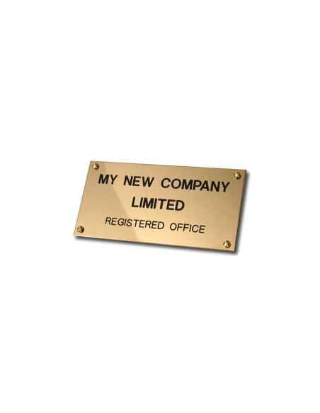 Plaque professionnelle 20x5cm en laiton poli, fond or, épaisseur 2 mm