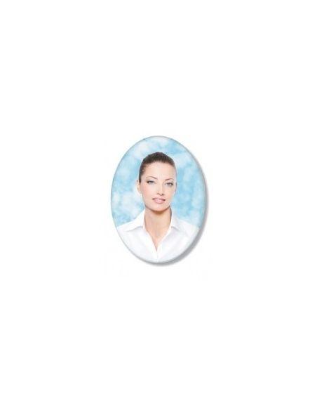 Médaillon ovale 7x9cm en couleur photo funéraire porcelaine pour portrait