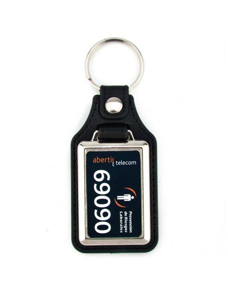 Porte clé rectangulaire en cuir et métal personnalisé sur 1 face